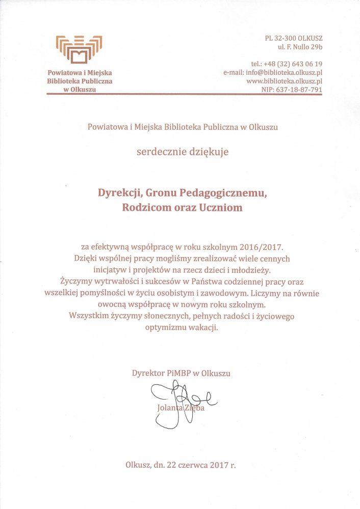 podziękowanie _PiMBP w Olkuszu