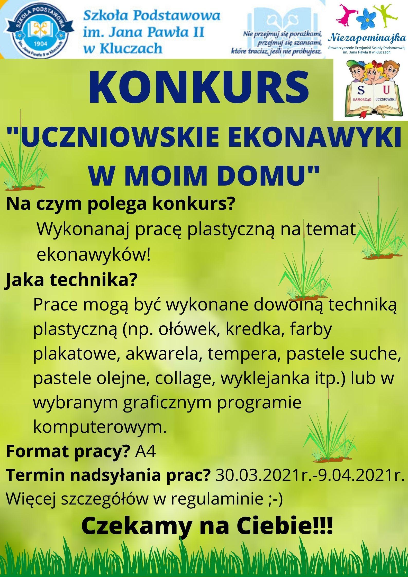 """plakat informujący o konkursie """"Uczniowskie ekonawyki w moim domu"""""""