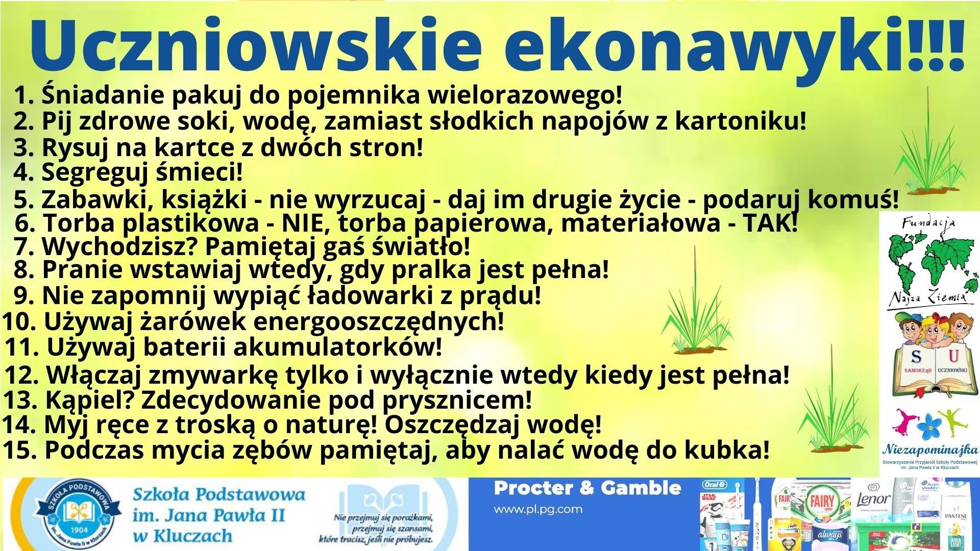 plakat onformujący o uczniowskich ekonawykach