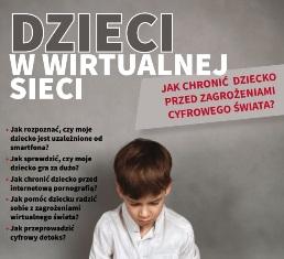 pierwsza strona broszury, dziecko oraz pytania jak chronić dzieci przed zgrożeniami cyfrowego świata