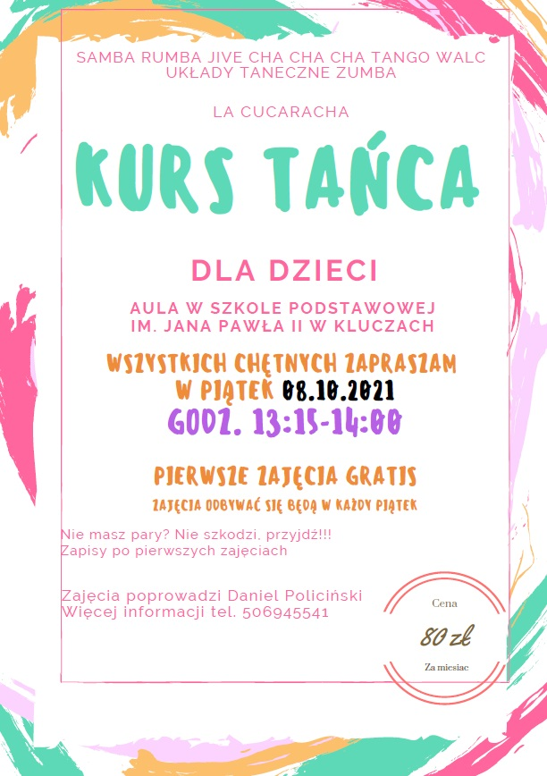 plakat kurs tańca Daniel Policiński